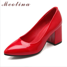 Meotina Big Size 34-43 Shoes Women Thick High Heels Pointed Toe Patent Leather Pumps Ladies Shoes White Wedding Heels Red Sliver