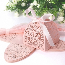 50pcs Valentine Romantic Wedding Pink Girl Gifts Bags Ribbon Bow Paper Card Candy Box Elegant Handmade bomboniere matrimonio kit(China)