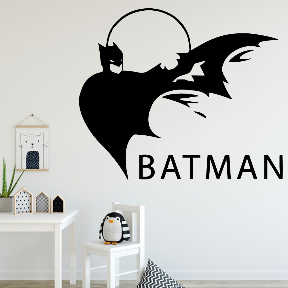 LARGE PERSONALISED  BATMAN LOGO FOREVER FONT WALL ART STICKER TRANSFER DECAL