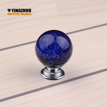 30mm 10pcs Hot K9 Crystal Glass Fashion Bubble ball Door Knobs Kitchen Cabinet Drawer knobs+Screw Home Decorating YZ-2011-Blue