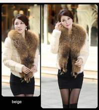 women genuine rabbit fur short jacket with big raccoon fur collar beige pink black wine color lady warm big large size outwear