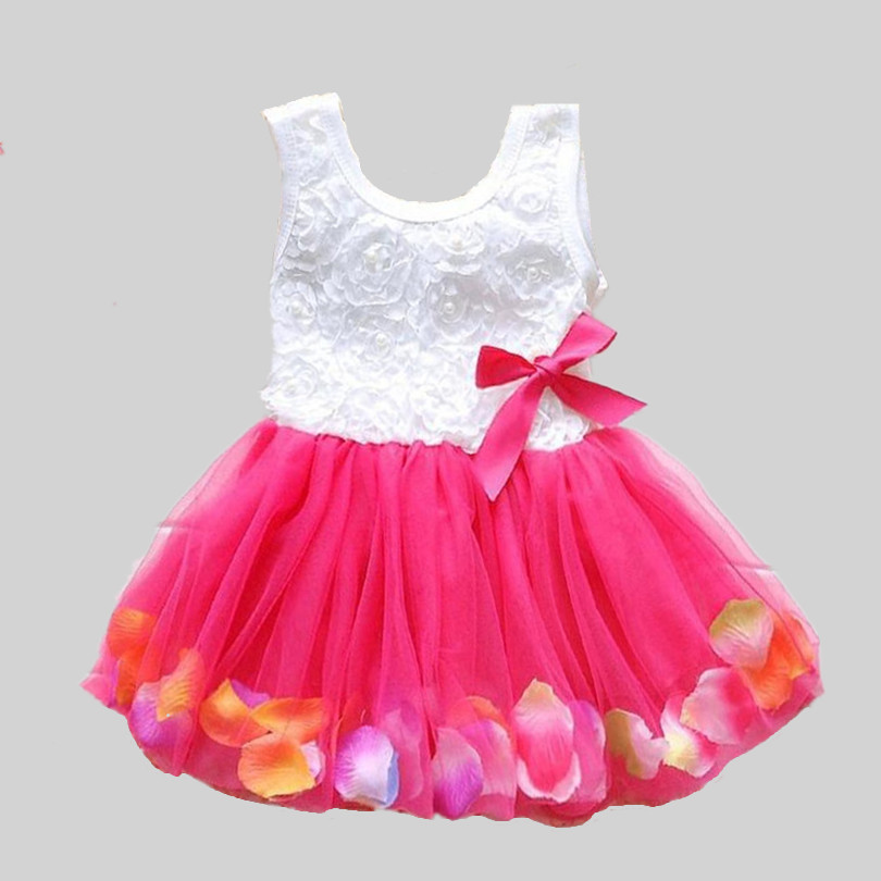 2017 Summer New Cotton Baby Infant Fairy Tale Petals Colorful Dress Chiffon Princess Newborn Baby Dresses Gift(China)