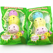 15cm Adu Kawaii Food Mochi Squishy doll peas multicolor PU chain Venting Ball Squeeze Squishy charm toy(China)