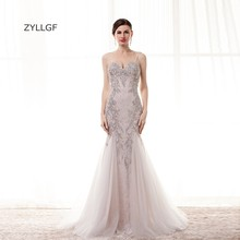 ZYLLGF Robe De Soiree Femme Mermaid Sweetheart Spaghetti Strap Nigerian Lace Evening Gowns With Beadings Free Shipping ZL123