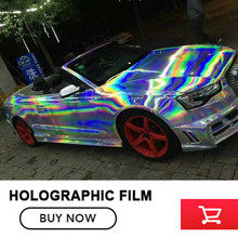 Silver black gold red Purple Holographic Chrome Vinyl Holo Film Laser Plating Car Wrap Sticker Sheet With Air Bubble Free(China)