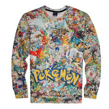 brand t shirt boys girls spring autumn cartoon pokemon go 3D print long sleeve t-shirts Children's Clothing 12-20 Years