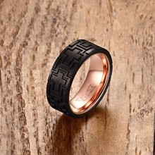 Men Ring Stainless Steel Carved Forged Carbon Fiber Rose Gold-color Wedding Band Men's Jewelry anillos masculino US Size 9 to 12(China)