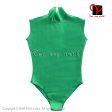 Buy Sleeveless Zip Back Latex Swimsuit Rubber Catsuit high cut leg Gummi Jumpsuit Unitard Sexy Latex leotard TC-019