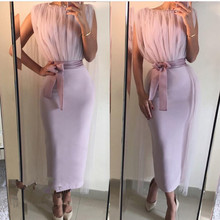 Lavender Ankle Length Evening Dresses High Neck Women Formal Dress 2017 New Arrival Straight Arabic Party Gown Abiye Kaftan
