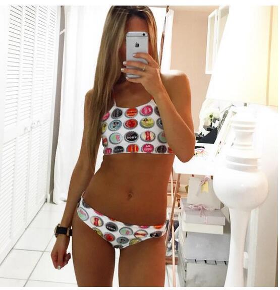 2017  newset push up print Spaghetti straps triangle high neck bikinis set women swimwear swimsuit bathing suit female 2213<br><br>Aliexpress