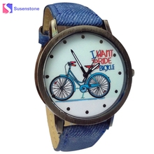 Wavors Vogue Fashion Men Women Quartz Watch 2017 Bicycle Pattern Canvas Jean Strap Ladies Casual Dress Watches relogio Time(China)