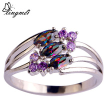 lingmei New Nice Arrival Mysterious Multi-Color & Purple CZ Silver Color Ring Women Jewelry Size 6 7 8 9 Free Shipping Wholesale(China)