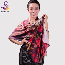 Large Long Silk Scarf Shawl Female Red Silk Scarf Printed Fashion Women's Long Silk Scarf Wraps Hot Sale Brand Scarves Tippet