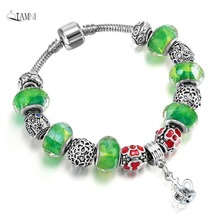 QIAMNI Green Glass Mix Flower Beads Pendant Bracelet Bangles Women Girl Snake Chain Bijoux DIY Jewelry Handmade Accessories Gift(China)