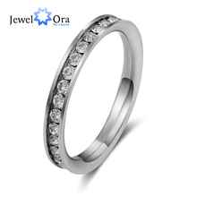 Stainless Steel Fashion Crystal Lovers Ring Jewelry Female Pinky Ring Finger Ring Day Cheap Christmas Gifts (JewelOra Ri100189)