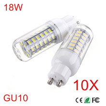 10Pcs GU10 Radiation Cover LED lamp 5730 AC220V 230V 240V GU10 Corn Bulb Light 56Leds Chip lampada 18W Led Candle Lighting(China)