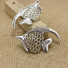 Buy PULCHRITUDE 10 pcs/lot Charms Fish Pendant Antique Silver 35*52mm Fit Bracelets Necklace DIY Metal Jewelry Making Hot Sale for $5.27 in AliExpress store