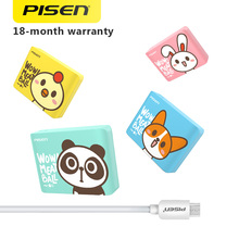 PISEN Cute 18650 Power Bank 10000mAh Portable USB Charger LED Flashlight External Battery Power bank for Phones and Tablets(China)