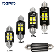 Festoon Dome Car LED Lights C5W 31mm 36mm 39mm 41mm Lamp Super Bright Interior Xenon Canbus Bulbs 2835 6SMD Lamp White 2PCS