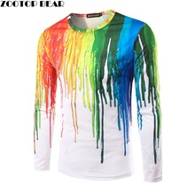 Funny 3D T-shirts Men Splashed paint ink T shirts Long Sleeve Trend Character Round Neck Printed Quick Dry Personal ZOOTOP BEAR(China)