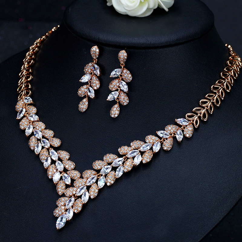 bridal jewelry sets rose gold