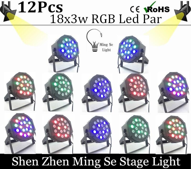 New Seller 12pcs/lots  18X3W led par lights RGB Flat par dmx512 control  professional stage dj equipment 100% new<br><br>Aliexpress