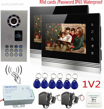 "SUNFLOWERVDP Video Door Phone 2 Monitors IP65 Waterproof Rfid Card/Keyboard CCD Camera Videophone Color Touch Buttons 7"" Monitor"