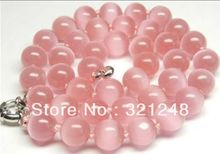 Free shopping new 2014 diy Beautiful !10mm Pink Mexican Opal cat eye Necklace 18'' GE5323