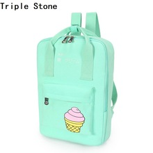 Triple Stone Portable Tote Backpack Women Cartoon Ice Cream Printing Causal Portable School Bag Preppy Style Laptop Shoulder Bag