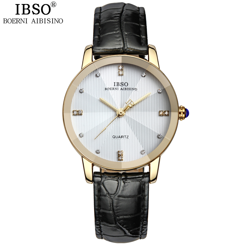 IBSO New Arrival Elegant Wrist Watches For Couples Dress Genuine Leather Belt Lovers Watch Brass Dial Famosa Marca De Relojes<br><br>Aliexpress