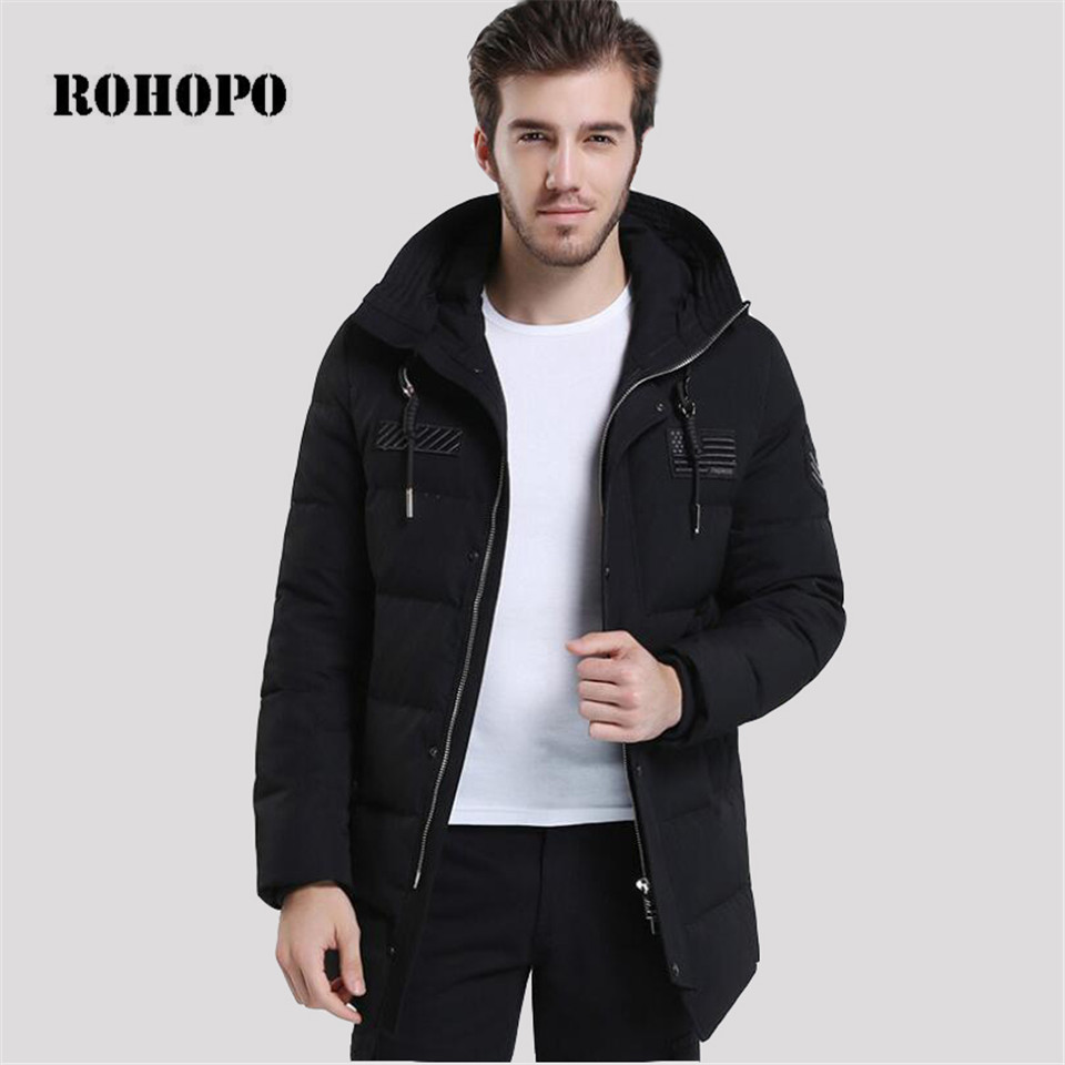 ROHOPO Black medium long down coat men,keep warm hooded collar sportswear down jacket,military men casual thick down jacket
