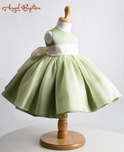 Cute cheap solid short summer green ball gown Flower Girl Dress Baby 1 year Birthday prom party christening gown with bow sash
