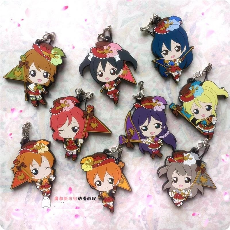 Kotori Nico Eli Rin Umi Maki Anime Love Live! Lovelive! Flag Idolized Version Rubber Resin Kawaii Keychain Pendant<br><br>Aliexpress