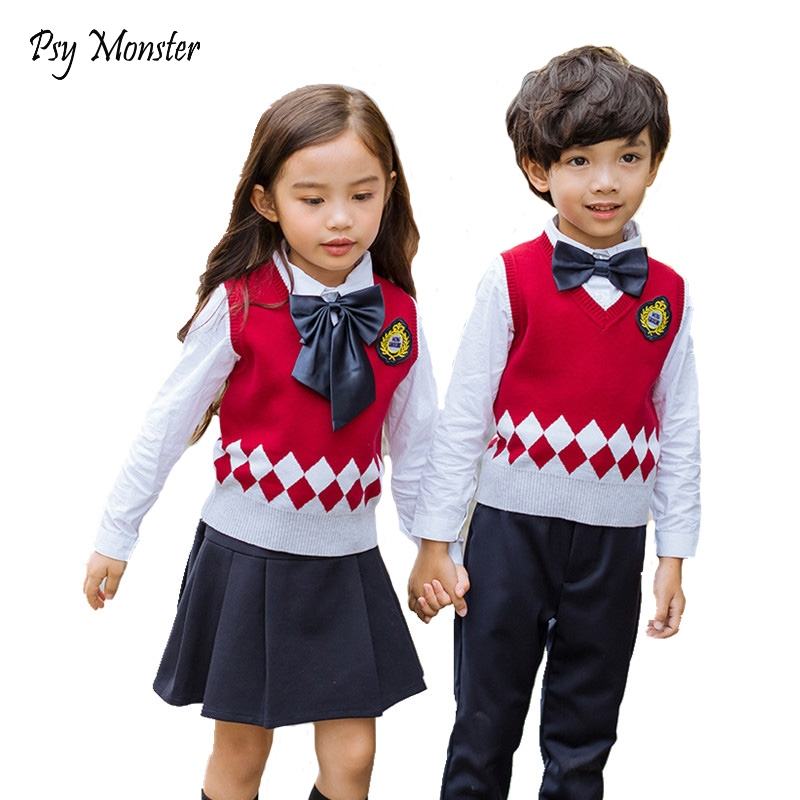 Kids Formal Suit Girls Boys Japanese Student School Uniforms Shirt + Sweater + Pant Tutu Skirt + BowTie Set Performing Suit A60<br>