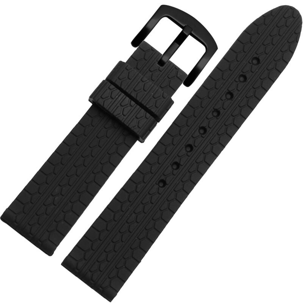 Rubber Watchband 22mm Men Black Sport Diving Silicone Watch Band  Suitable For Breitling/Timex/Chopard Mens Watch Free Shipping<br>