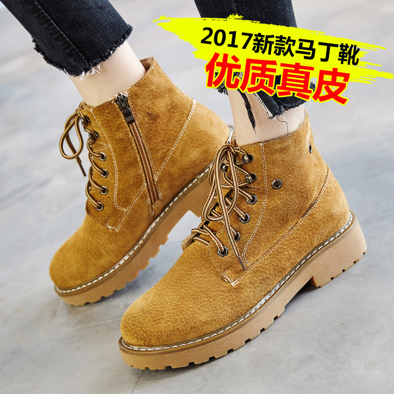 Martin boots leather 2017 autumn and winter new England plus cashmere retro Chelsea boots female<br>
