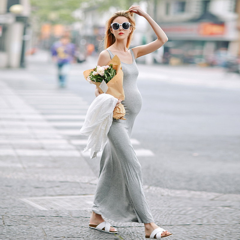 Lady Autumn New Render Cultivate Clothes Women Morality Pregnant Long Dress Sleeveless Long Modal Condole Belt Vest Skirt V-0337<br><br>Aliexpress