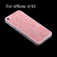 Full Body Glitter Bling Sticker For iPhone 4 Strass Coque Luxury Shining Skin Cover Case For Apple iPhone 4S Funda Capa Capinha(China)