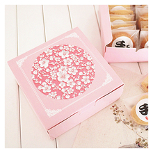 Mid Autumn Festival Square Pink Flower Cookie Gift Box mooncake box green bean pastry cake box