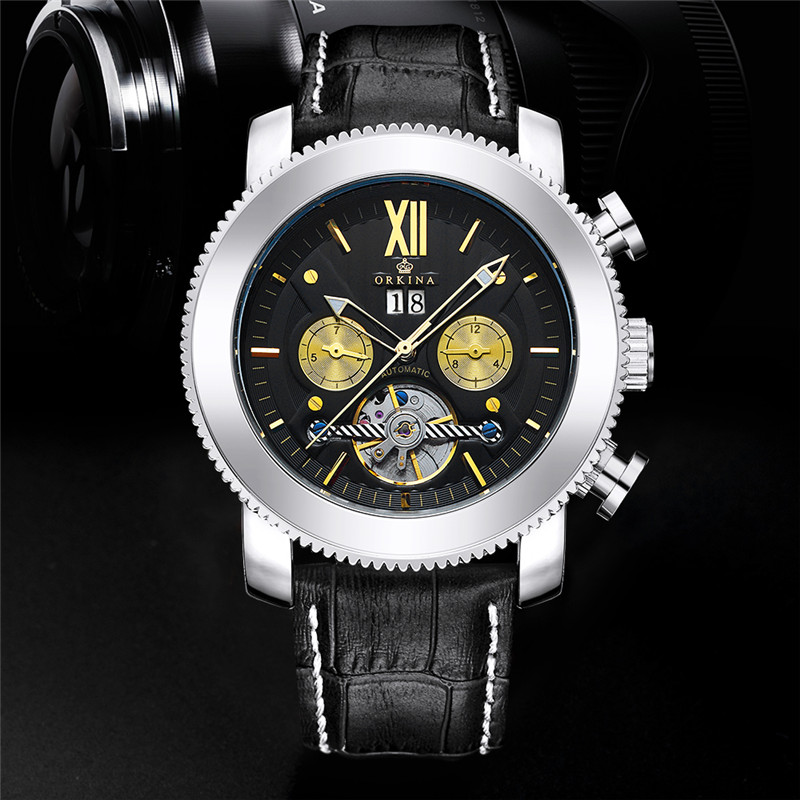 ORKINA Fashion Sport Men Automatic Self-Wind Wristwatch Sliver Gold Stainless Steel Case Genuine Leather Band Cool Luxury Watch<br>