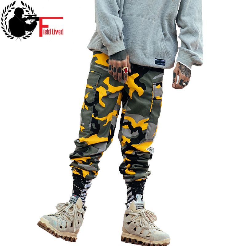 2019 Color Camo Cargo Pant Mens Baggy Camouflage Trousers Hip Hop Harem Casual Hiphop High Fashion Street Male Streetwear Jogger