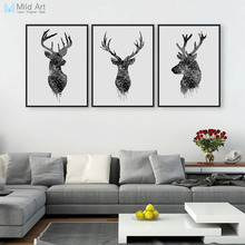 3 Piece Modern Abstract Black Deer Head A4 Art Print Poster Hipster Wall Picture Nordic Home Decor Canvas Painting No Frame Gift(China)