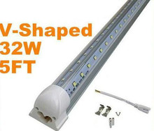 5pcs/lot 5FT 32W Led Tube Light T8 V-Shaped 1500mm Led Tube AC110-277V Warm/Cool White Transparent Cover