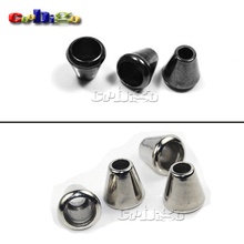 25pcs Pack  Bell Stopper Without Lid Cord Lock Toggle Plastic White/Black Nickel Plated Size: 14.5mm * 14mm #FLS041-B/W(Mix)