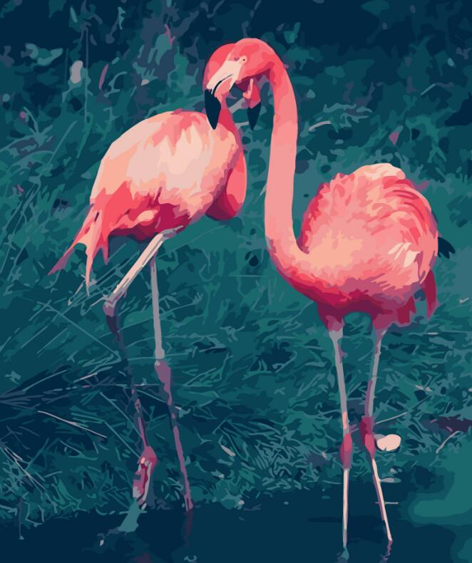 2017 New 22 styles Digital Diy oil painting by numbers Flamingo picture on canvas oil paint coloring by number drawing x38 10