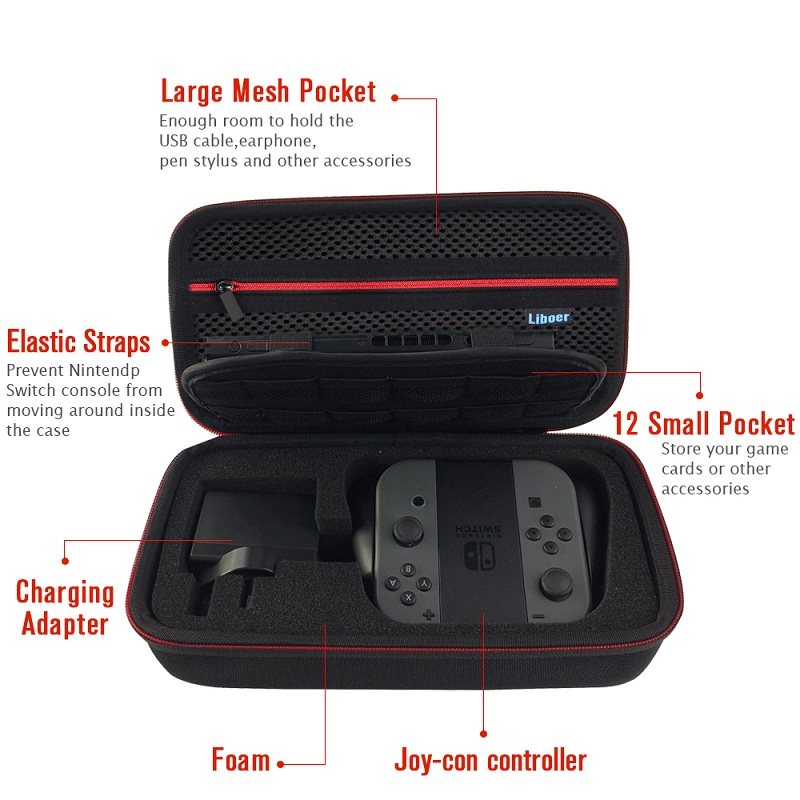 Hard Storage Carrying Case Portable Travel Bag with Handle for Nintendo Switch Console JoyCon Controller AC Adapter Charger BN30 12