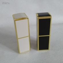 100pcs/lot- 2.5*2.5*7.9cm Gold Line Embossed White Paper Box Black Sample Party Gift Lipstick Packaging Boxes(China)
