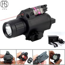 All 20mm Rail Gun 2in1 Tactical CREE LED Flashlight/LIGHT+Red Laser/Sight Combo for Shotgun Glock 17 19 22 20 23 31 37(China)
