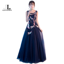 LOVONEY YLF812 Real Photos Long Prom Dresses 2017 Elegant Embroidery Formal Party Dresses Lace-Up Backless Women Occasion Dress