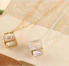 N1036 2016 New Fashion Korean version of the three-dimensional cube box chain necklace happiness Jewelry Wholesale